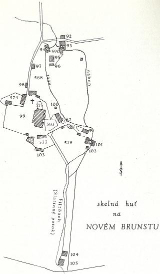 Situace skelné huti na Novém Brunstu podle plánku z roku 1838