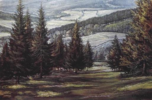 Obraz E. Ascherla z okolí Železné Rudy
