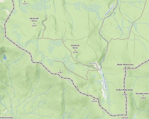 Jen pro srovnání, jak vyhlíželo okolí Březníku a tedy i Josefstadtu z hlediska osídlení na Podrobné mapě Království českého zpřelomu 19. a 20. století a dnes