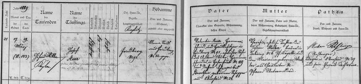 Záznam ve frymburské matrice svědčí o tom, že se narodil jako Josef Auer v čp. 91 kováři Valentinu Auerovi a jeho ženě Theresii, roz. Stoiberové