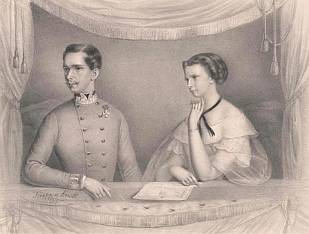 Císař František Josef I. a Alžběta na litografii z roku 1855, která je zachytila v císařské lóži divadla v Hofburgu