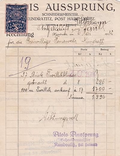 Účtenka z pořízení vybavy pro hasičský sbor z téhož roku