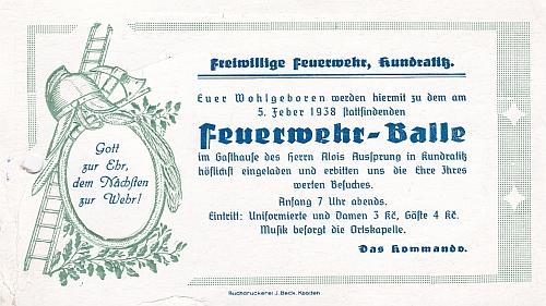 Pozvánka na hasičský bál v Kundraticích z roku 1938
