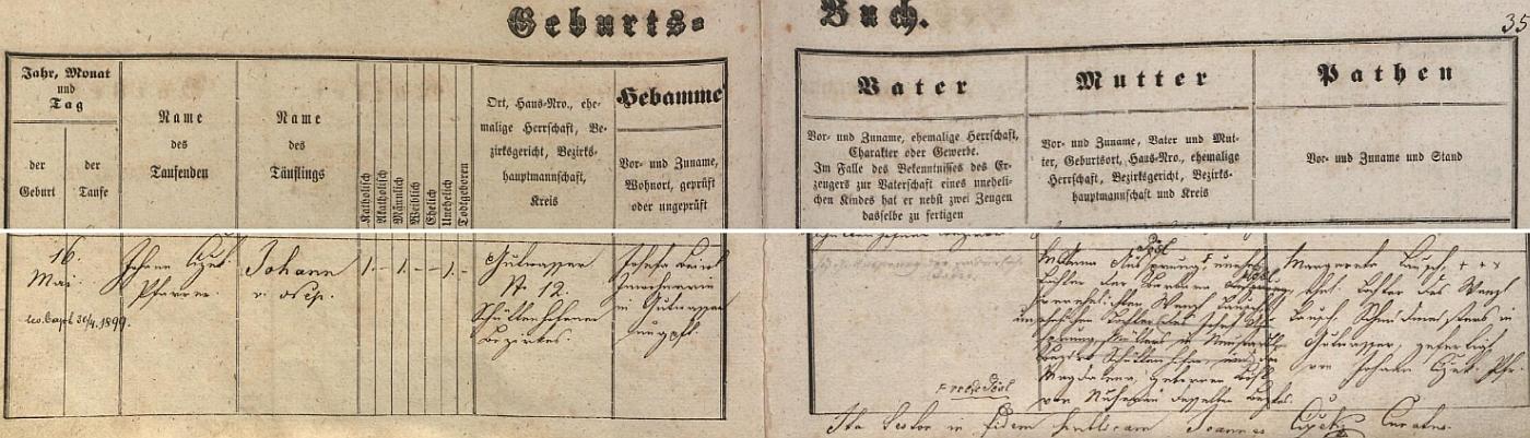 Záznam křestní matriky farní obce Dobrá Voda u Hartmanic o narození otcově