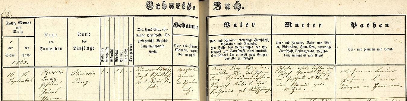 Záznam křestní matriky farní obce Svatý Mouřenec o narození matčině v Kundraticích