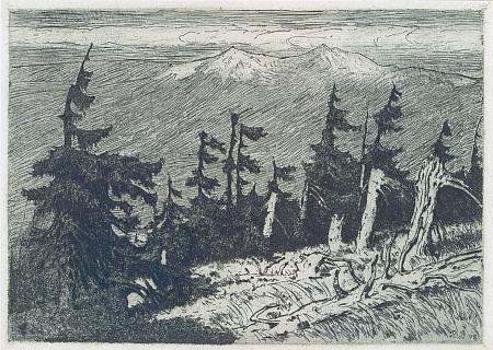 """""""Horský svah Ostrého při Lamu"""" na grafice Richarda Theodora Birnstengela (1881-1968), který zachytil dvojvrchol hory, zvané česky i """"Prsa Matky Boží"""", i na své podobizně Hanse Watzlika, vzniklé o deset let později"""