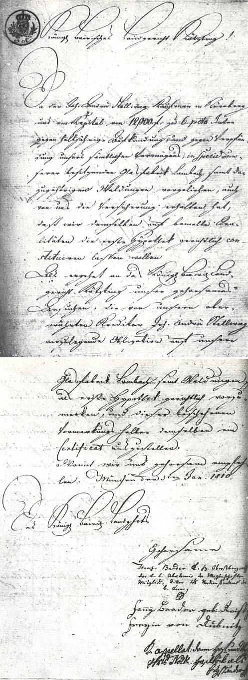 Dokument o hypotéce více než 12000 zlatých pro sklářskou huť v Lambachu s podpisy Baadera a jeho manželky Fanny, roz. Dreisky von Dubnitz