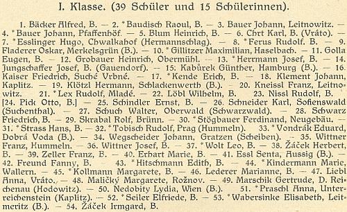 Jeho jméno figuruje na čele seznamu 54 studentů I. třídy německého státního vyššího reálného gymnázia vČeských Budějovicích roku 1932 - značná část jeho židovských spolužáků se za nacistické okupace stala obětíholocaustu (k budově gymnázia viz i Jakob Fried a Marianne Köhlerová)