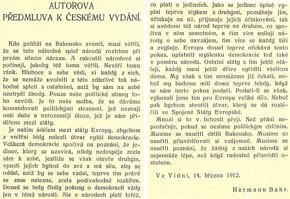 Obálka (1912) a předmluva českého vydání jeho úvah o Rakousku