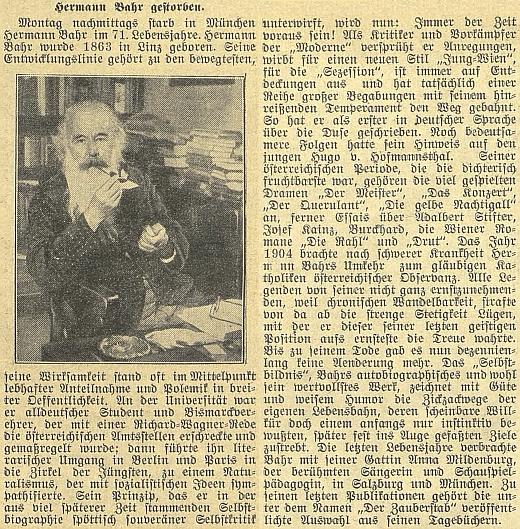 Zpráva o jeho úmrtí v budějovickém německém tisku