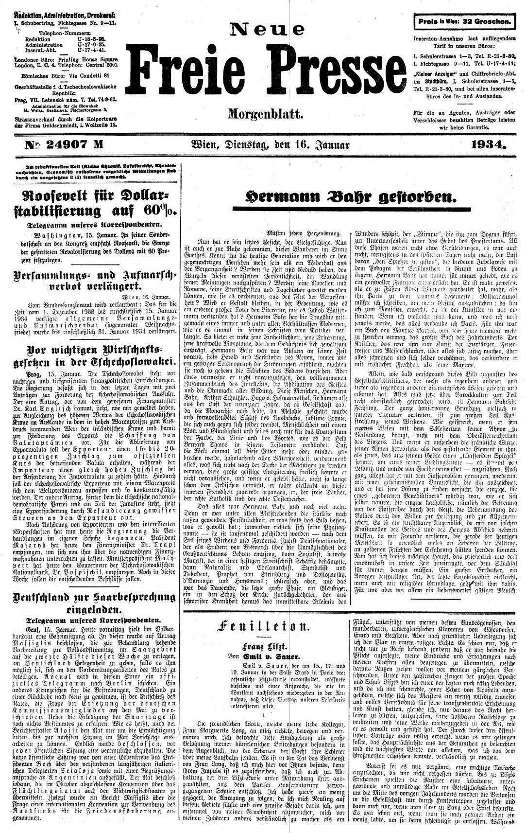 Titulní strana vídeňského listu Neue Freie Presse s oznámením o jeho skonu