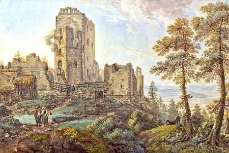 Tento kvaš Ferdinanda Runka z roku 1803 má název Pohled na Vítkův Kámen