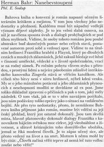 Recenze českého překladu Bahrova románu Nanebevstpoupení v časopise Tvar z roku 1929, jejímž autorem pod šifrou J.Z. byl básník Jan Zahradníček