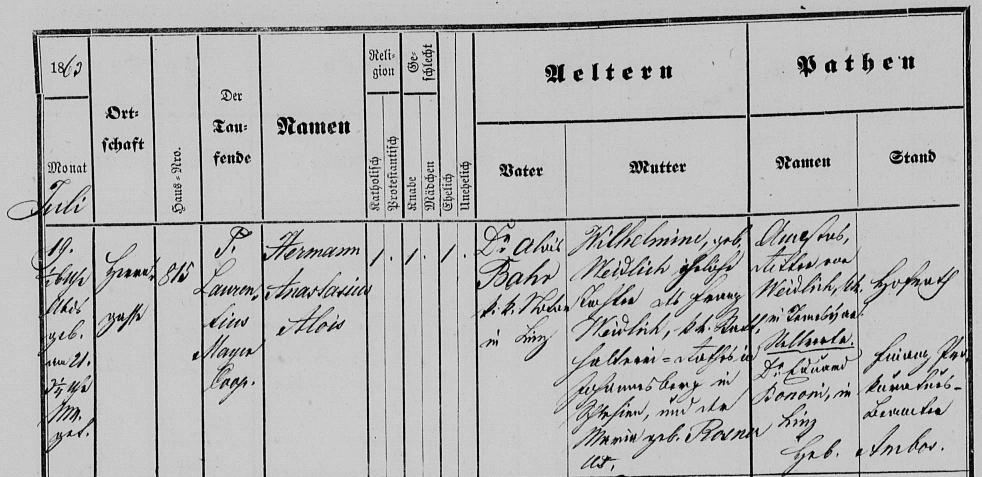 Záznam o jeho narození v křestní matrice při lineckém kostele sv. Matyáše
