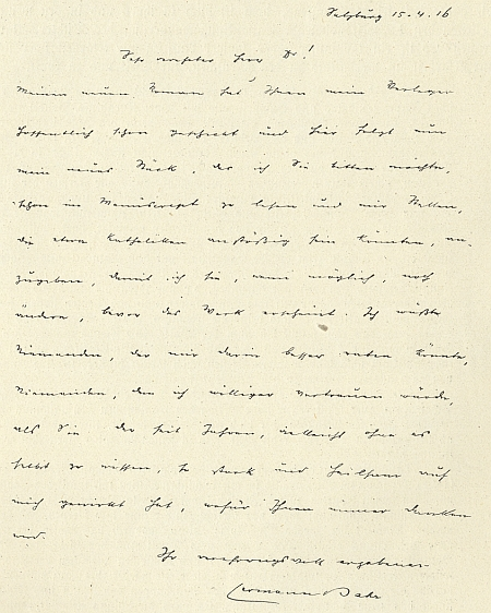 Jeho dopis Richardu von Kralikovi
