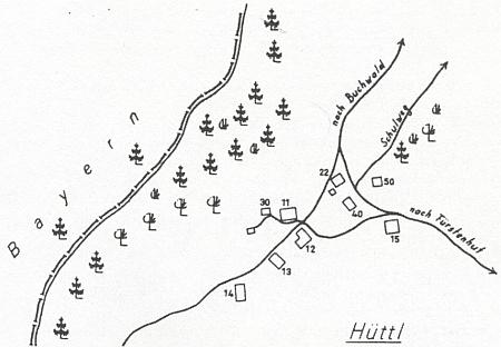 Zaniklá osada Chaloupky (Hüttl) na mapce s čísly stavení