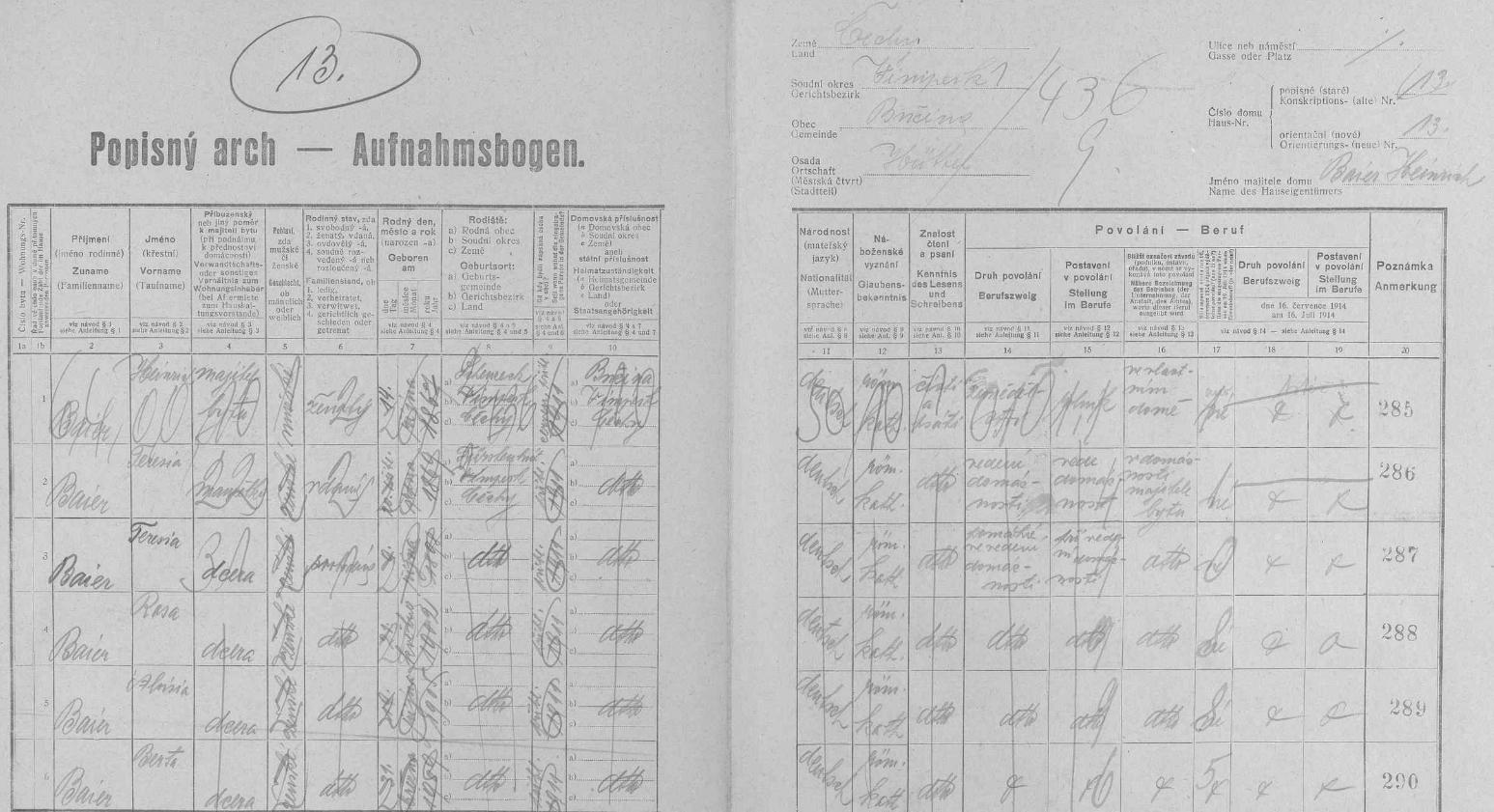 Arch sčítání lidu z roku 1921 pro stavení čp. 13 ve dnes zcela zaniklých Chaloupkách s rodinou Baierových