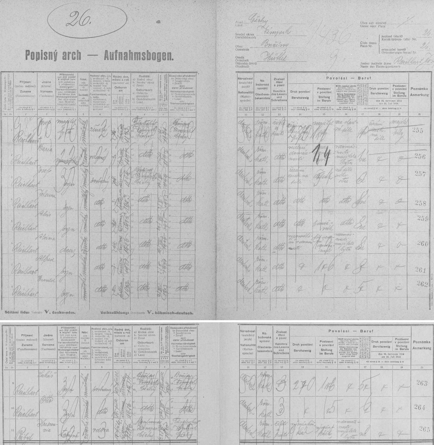 Dva archy sčítání lidu z roku 1921 pro pilu dědečka Reicharta, stavení čp. 26, kde se Johann Baier o 6 let později narodil