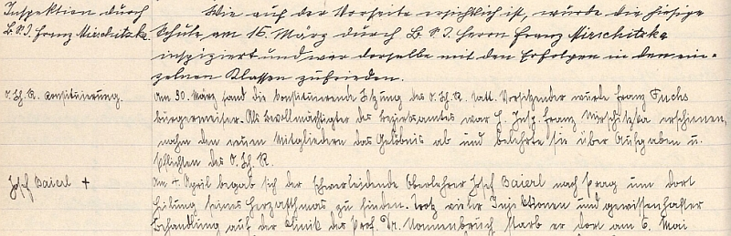 Poslední jeho zápis ve školní kronice, následovaný již rukopisem Johanna Heidricha a Baierlovým nekrologem