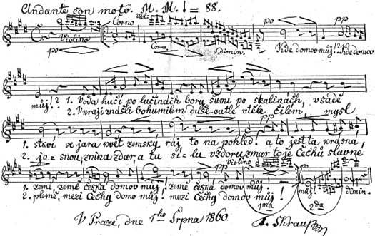 Vlastnoruční Škroupův (podepsal se ovšem příjmením Skraup) záznam písně