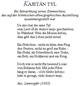 """Rilkeho báseň """"Kajetan Tyl"""" ze sbírky """"Larenopfer""""(1895), kdybylo básníkovi 20 let"""