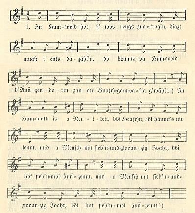 Notový záznam jeho písně