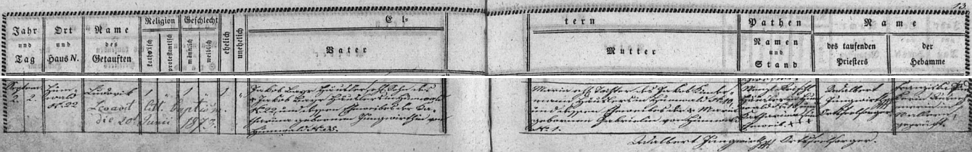 """Podle záznamu v matrice obce Pěkná narodil se dne 2. září 1842 v Chlumu čp. 22 chalupníku Josefu Bayrovi (synu chalupníka Josefa Bayra na témže čp. 22 a jeho ženy Kathariny, roz. Jungwirthové, psalo se tenkrát """"Jungwirthin"""", z Chlumu čp. 35) a jeho ženě Marii, roz. Kindermannové (dceři chalupníka Jakoba Kindermanna z Chlumu čp. 10 a jeho ženy Marie, roz. Gabrielové, psáno """"Gabrielin"""", z Chlumu čp. 1) a byl téhož dne pokřtěn jménem """"Ludowik"""""""