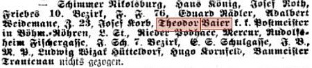 Zprávy v pražských německých listech zachycují jeho působení u c.k. pošty v Českých Žlebech a přeložení z Velké Zdobnice do Rynoltic