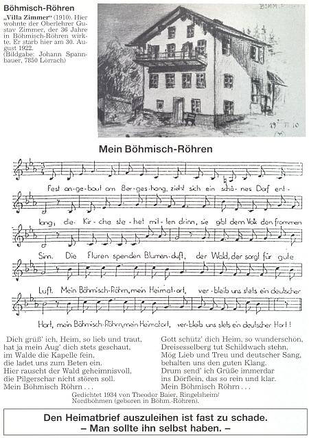 """Notový záznam jeho písně, nahoře se zobrazením tzv. """"Villy Zimmer"""", kde bydlil řídící učitel Gustav Zimmer, který vČeských Žlebech učil vletech 1862-1908, měl by tedy i Theodor Baier být kdysi jeho žákem"""