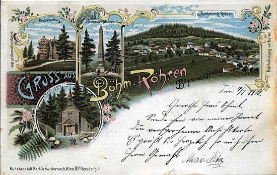 Stará pohlednice z Českých Žlebů zachycuje i Třístoličník, Stifterův obelisk nad Plešným jezerem a Stožeckou kapli
