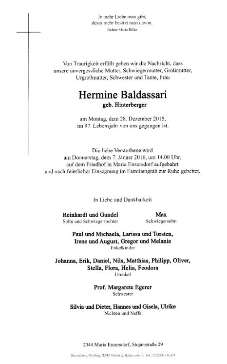 Parte Hermine Baldassariové, narozené jako Hermine Hinterbergerová v dolnorakouském městysi Brunn am Gebirge dne 1. prosince roku 1919 a ve válečném roce 1943 provdané za Roberta Baldassariho