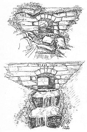 Kresby Hermine Baldassariové zachycují propusti na potoce Kesselbach a Schrollenbach před opravou a po ní