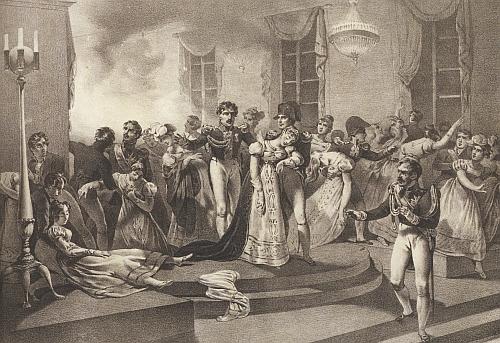 Smrt kněžny Pauline (zahynula v Paříži na plese u příležitosti Napoleonova sňatku s Marií Luisou) na francouzské litografii z třicátých let 19. století