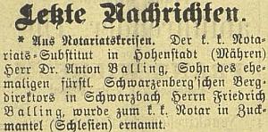 Zpráva o jeho jmenování notářem ve Zlatých Horách (Zuckmantel) vroce 1903 včeskobudějovickém německém listu připomíná i jeho otce