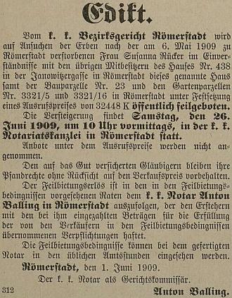 Toto nařízení nechal otisknout v novinách v roce 1909 už jako notář vRýmařově