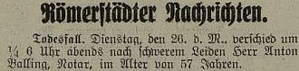 Zpráva o jeho úmrtí v bruntálském německém listu