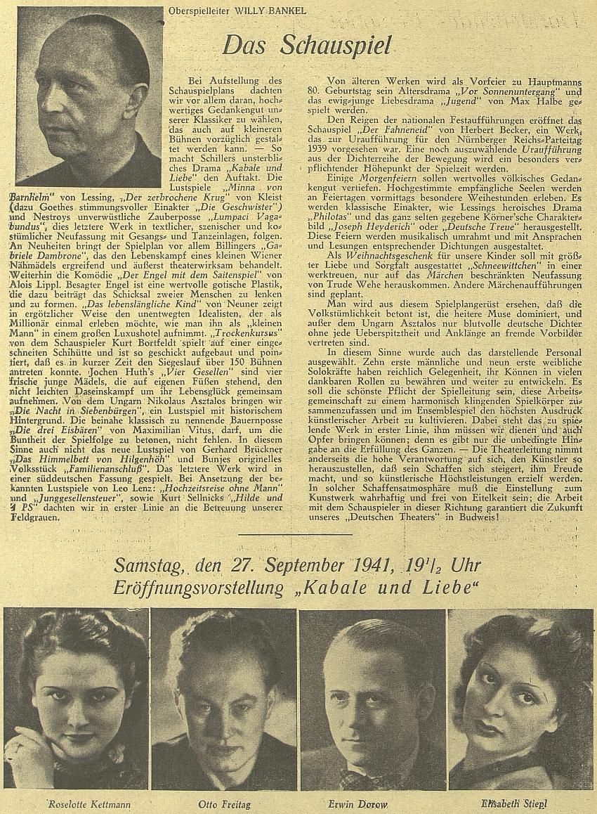 """Z přílohy listu """"Budweiser  Zeitung"""" k otevření zdejšího německého divadla"""