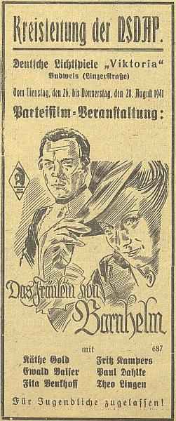 """V témže roce 1941, z něhož pochází Bankelův text, běžel v kině """"Viktoria"""" na Linecké třídě  (původně sokolské Bio Kotva, nacisty zabrané na promítání německých filmů) film """"Das Fräulein von Bernhelm"""" podle Lessingovy hry jako """"stranické představení"""" NSDAP"""