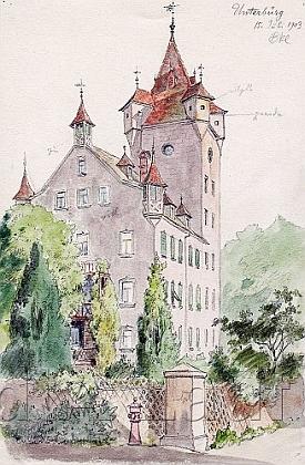 Kresba jeho otce Johanna Christopha Bankela  z roku 1903 zachycuje zámek Unterbürg v Norimberku