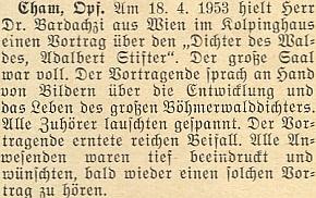 Jen o několik dní později přednášel na stejné téma v bavorském Chamu a naplnil sál zdejšího Kolpinghausu