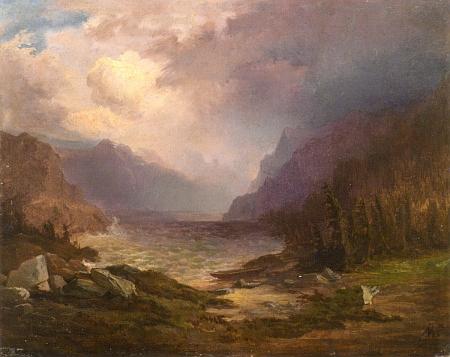 Horské (Plešné?) jezero v bouři na obraze českého malíře Adolfa Kosárka (1830-1859)
