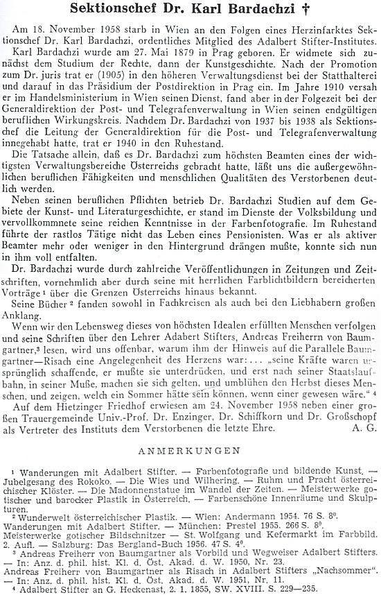 Autorem nekrologu ve čtvrtletníku lineckého institutu Adalberta Stiftera je zřejmě Alois Großschopf