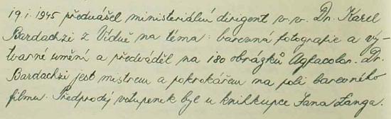 Záznam z pamětní knihy města Vimperka doporučuje jeho zdejší přednášku 19.ledna roku 1945 - je psán dodatečně českým kronikářem z německých materiálů