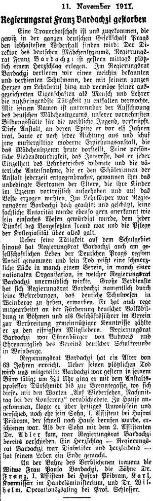 Nekrolog otcův v renomovaném pražském německém listě