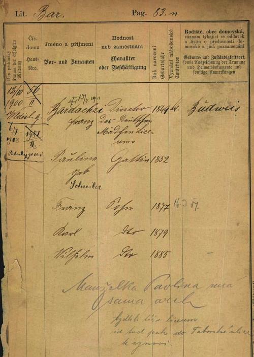 Pražská pobytová přihlášky jeho otce s uvedením dat manželky a tří synů - patrná je i změna v psaní příjmení