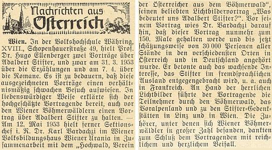 Zpráva krajanského měsíčníku o jeho vídeňské přednášce z května 1953, věnované Adalbertu Stifterovi