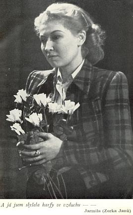 Obálka (1944) knižního vydání její hry nákladem Českého kompasu, v níž ztvárnila hlavní roli Zorka Janů, sestra Lídy Baarové (spáchala roku 1946 sebevraždu)