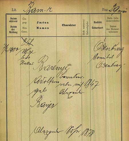 Jediná pražská policejní přihláška na příjmení Barényi z počátku 20. století je tato a uvádí se na ní Adolfine Barényi, roz. Bayerová, se synem Alexanderem z uherské Šoproně (Ödenburg)