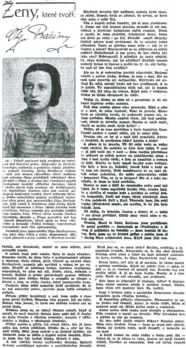 To napsala o sobě a o své práci roku 1944 pro plzeňský list Český deník