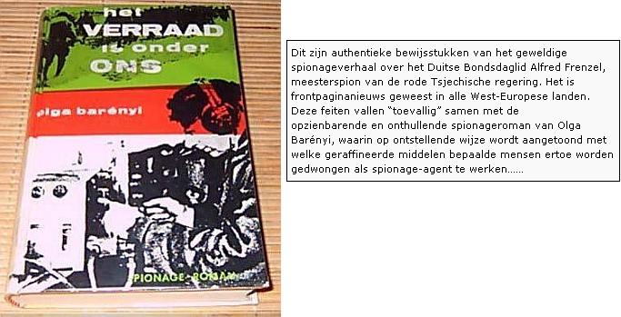 """Obálka a inzerát nizozemského vydání jejího špionážního románu o Alfredu Frenzelovi """"Zrádce je mezi námi"""""""